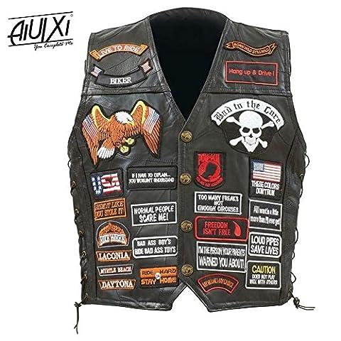 AiUIXi1991-Mens Black Genuine Leather Motorcycle V_E_S_T w/ 42 Patches US Flag Ea_gle Biker 201X - BLACK - Morris Care Bear Costume