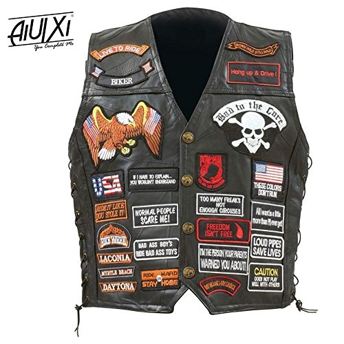 Price comparison product image AiUIXi1991-Mens Black Genuine Leather Motorcycle V_E_S_T w/ 42 Patches US Flag Ea_gle Biker 201X - BLACK (2X)