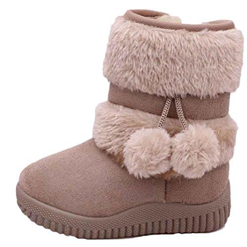 Moccasins Baby Deerskin - Mosunx(TM) Girl Ball Cotton Fashion Winter Boot Warm Snow Boots (1-2 Years, Khaki)