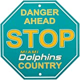 Fremont Die NFL Miami Dolphins Stop Sign, 12″ x 12″, Multicolor