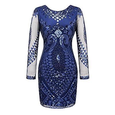 Long Sleeve Cocktail Dress Vintage 1920s Sequins Dresses
