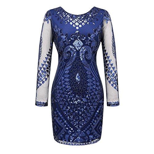 [Long Sleeve Cocktail Dress Vintage 1920s Sequins Dresses 149 Blue Size M] (1920s Dresses Cheap)