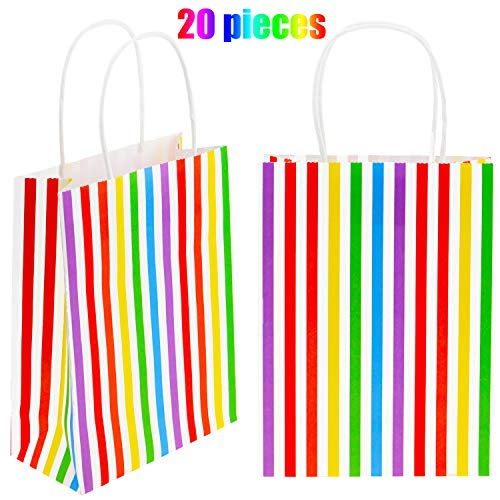 Chuangdi 20 Pieces Rainbow Color Paper Bags Multicolor Stripe Party Kraft Bags Candy Treat Bag with Handle for Tea Party Birthday Wedding Favors