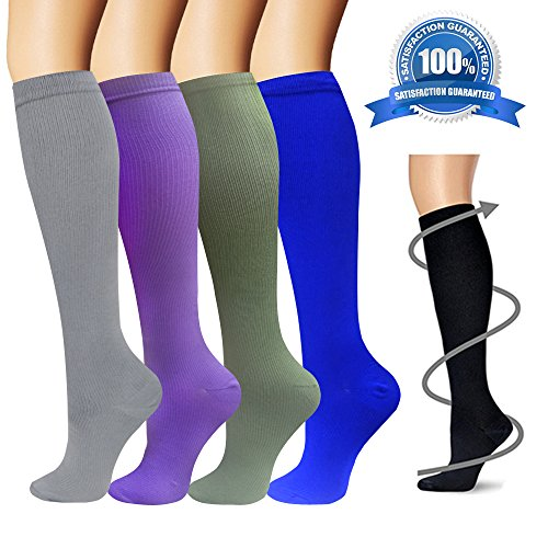 Compression Socks for Women & Men - 4 Pairs - Best For Running, Athletic Sports, Flight Travel and Pregnancy - 15-20mmHg (Color4, L/XL)