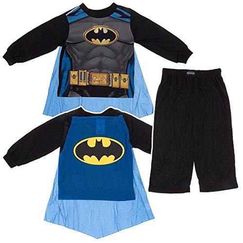 Batman Toddler Black Costume Pajamas with Cape (Batman Costumes Pajamas)