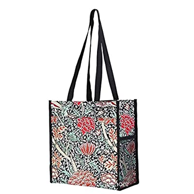 Signare Tapestry Black Shopping Tote Bag with William Morris The Cray Design