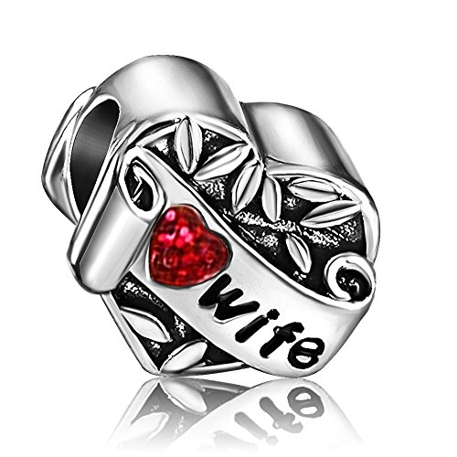 JMQJewelry Heart Love Birthstone Wife Charm Red Crystal Rhinestone Beads For Charms Bracelets