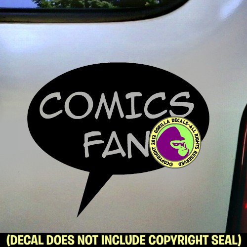 COMICS FAN Zine Club Comic Book Vinyl Decal Bumper Sticker Car Laptop Wall Sign BLACK