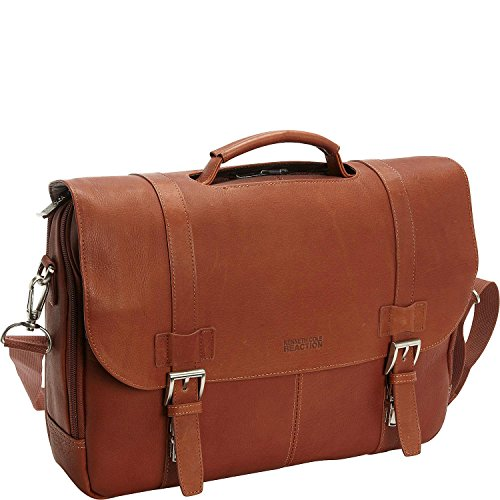 """Kenneth Cole Reaction """"Show Business"""" Colombian Leather Double Compartment Flapover Portfolio/Computer Case With Pull Through Handle/ Fits Most 15.4"""" Laptops, Cognac, One Size"""