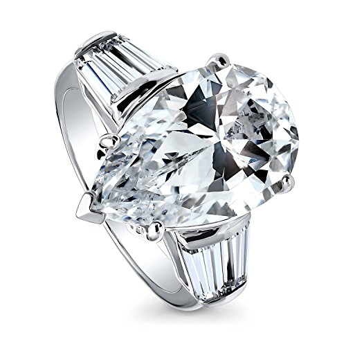 BERRICLE Rhodium Plated Sterling Silver Pear Cut Cubic Zirconia CZ 3-Stone Engagement Ring Size 6