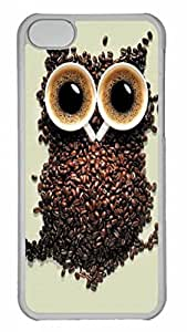 LJF phone case Coffee Owl Protective Hard Plastic Back Fits Cover Case for iphone 5C Transparent-1122059