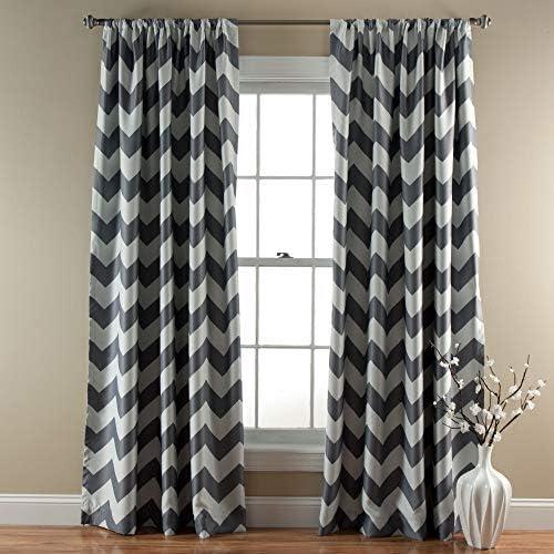 Lush Decor, Gray Chevron Blackout Curtains Window Panel Pair Room Darkening, Energy Efficient Drapes, 84 x 52 Set 84 x 52