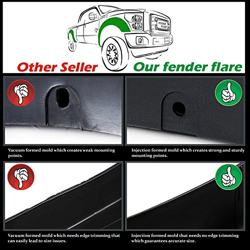 2007-2013 Chevy Silverado 1500 Short Box 5.8 Pocket Riveted Style Fender Flares