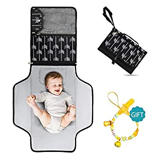 "Portable Diaper Changing Pad - Large 23.5"" x 21.75"" Baby Change Travel Mat - Soft Infant Changing Table Pad with Pockets - Waterproof Newborn Changer Pads with Magnetic Clip Clutch Design(Angle)…"
