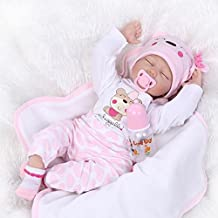 Nicery Reborn Baby Doll Soft Silicone Vinyl 22inch 55cm Magnetic Mouth Lifelike Boy Girl Toy Pink White Eyes Close A3CA