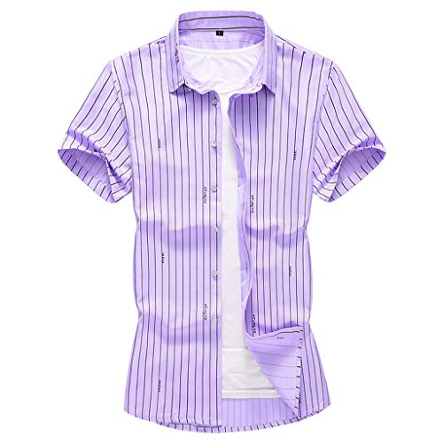 44d9d2bf2d Chenout Men's Fashion Shirts Casual Short Sleeve Beach Top Classic Slim  Summer Cool Thin Shirt Breathable Loose Blouse Purple