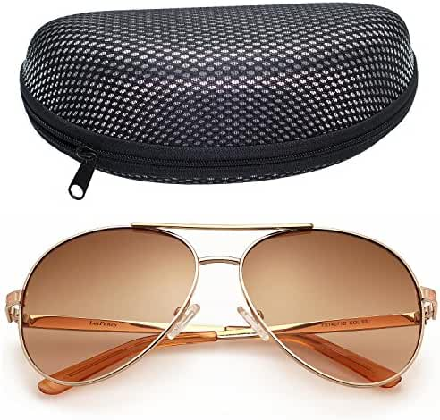 LotFancy Aviator Outdoor Sunglasses for Women with Case, 61mm, Metal Frame, UV 400