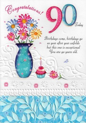 Second Nature Female 90Th 90 Birthday Cards Poetry In Motion Glitter