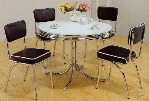 (5pc White & Chrome Retro Round Table & Black Chairs Set )