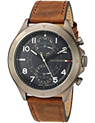 Tommy Hilfiger Mens Quartz Resin and Leather Casual Watch, Color:Brown (Model: 1791343)