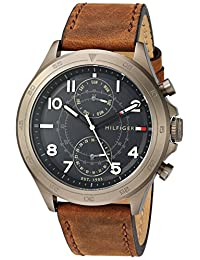 Tommy Hilfiger Men's Quartz Resin and Leather Casual Watch, Color:Brown (Model: 1791343)