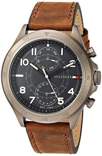Tommy Hilfiger Men's Quartz Resin and Leather Casual Watch, Color Brown (Model: 1791343)