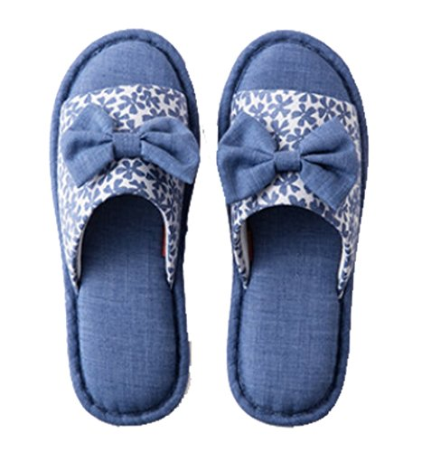 Cattior Dames Boog Huis Indoor Dames Slippers Open Teen Blauw