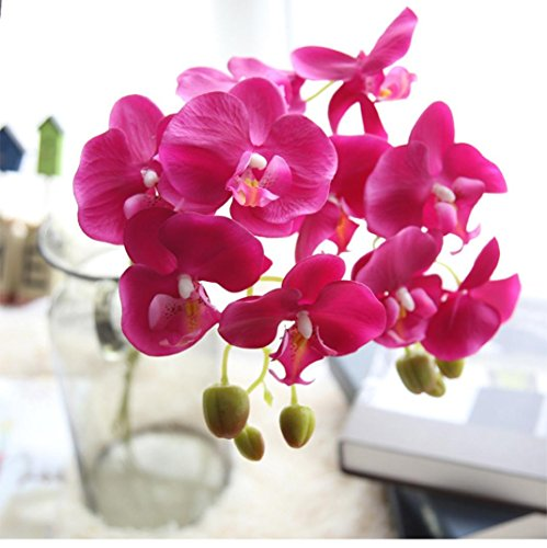 YJYdada Artificial Silk Fake Flowers Phalaenopsis Wedding Bouquet Party Home Decor (E)
