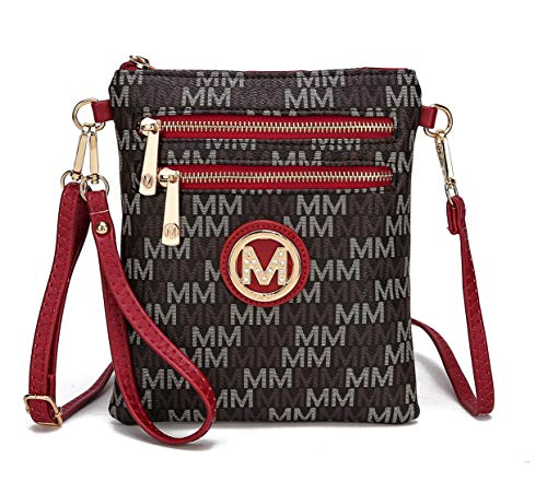 MKF Crossbody Bags for Women, Wristlet Strap – PU Leather Shoulder Handbag – Small Crossover Messenger Purse