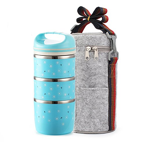 Maiyuansu Bento Lunch Box Stainless Steel Leak Proof Food Storage Containers with Insulated Lunch Bag for Adults and Kids (3-Tier, Blue)