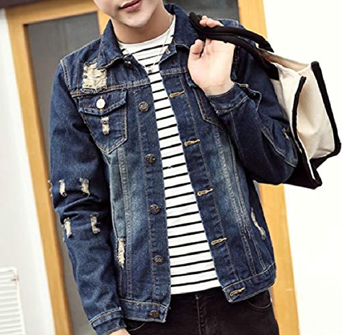 Trucker Jacket Blue Button Pocket Collar Distressed Front Men Down Turn Howme qaOwzO