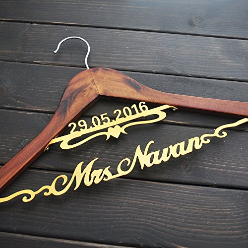 Bride Hanger, Gold Hanger, Personalized Wedding Hanger , Dress Wedding Hanger, Bridesmaids Gift, Double Hanger,Name Hanger