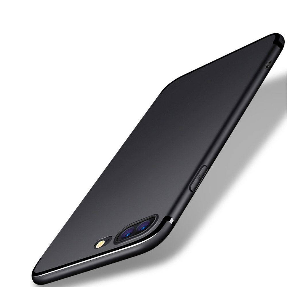 iPhone 7 Plus /8 Plus Case,DK Ultra Thin [Light Weight] Soft Flexible Protective Case with [Tempered Glass Screen Protector]for iPhone7 Plus 5.5 inch (BLACK)