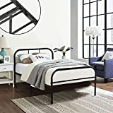 Coavas Single Metal Bed Frame 3ft Single Solid Bedstead Base 2 Headboard Adults Kids Bed Black, fit 90 * 190 Mattress
