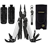 Leatherman Surge Multi-Tool Black/Silver With Nylon Sheath + 42-Bit Assortment for Leatherman Bit Drivers + Leatherman Removable Pocket Clip Quick-Release Lanyard Ring (Black/Silver)