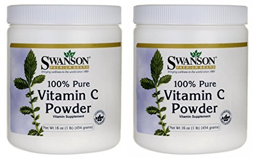 100% Pure Vitamin C Powder -- 16 oz (Two Jars each of 16 ounces) by Swanson Premium