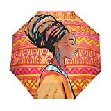 WIHVE Africa Woman Art Umbrella Auto Open Close Windproof Compact