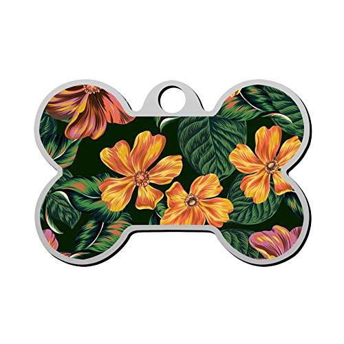 Qeksow Customizable Bone Shape ID Tags, Fancy Tropical Floral Pattern Personalized Double Sided Printed Pet Information Collar for Cat Dog