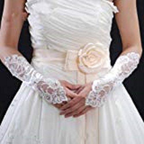 指なし手袋ウェディング グローブ約28cmホワイト ブライダル手袋 ネイル手袋  指なしグローブ 花嫁用品 a069 [並行輸入品]