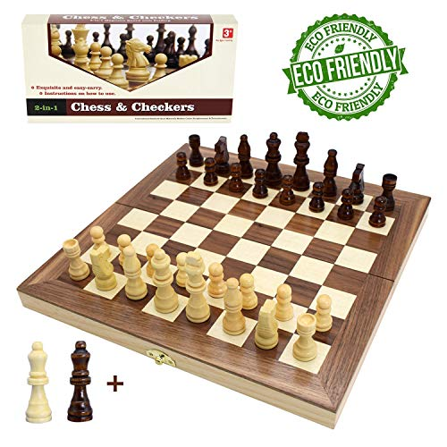 (Wooden Chess Set for Kids and Adults, Folding Chess Board Travel Chess and Checkers Set Game Board Interior for Storage - 2 Extra Queens ( 12