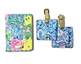 Lilly Pulitzer Travel Set, Leatherette Passport Cover/Holder/Wallet and 2 Luggage Tags, Cheek to Cheek