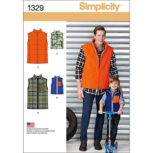 Simplicity Creative Patterns 1329 Boys' and Men's Vests Sewing Patterns, Size A (S-L/S-XL)