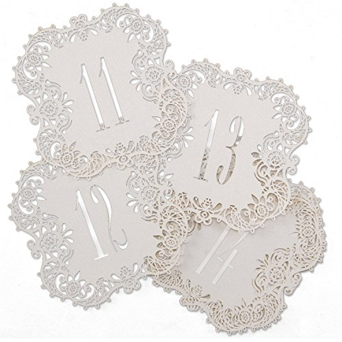 Hortense B. Hewitt 30853 White Shimmer Laser Cut Table Number Cards, Numbers 11 to (Wedding Table Number Cards)