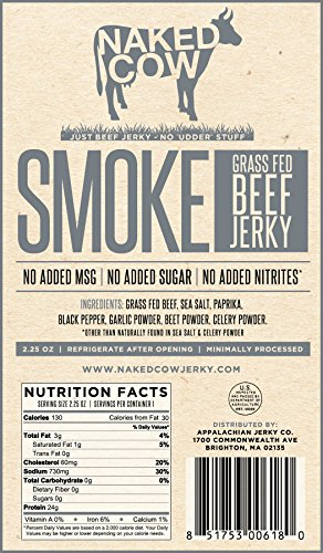 Naked Cow All Natural Grass Fed Beef Jerky - SAMPLER includes ONE (1) bag of HONEY, FIRE and SMOKE