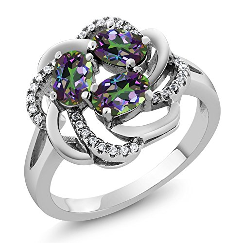 (Gem Stone King Green Mystic Topaz 925 Sterling Silver Women's Flower Blossom Ring 1.87 Ct Oval Available in size 5, 6, 7, 8, 9)