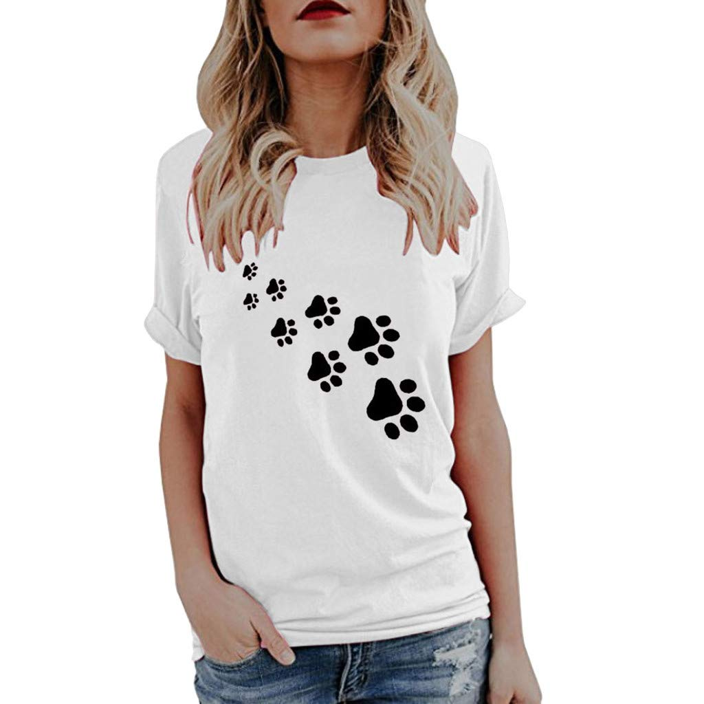 Womens Casual Paw Print Tunic Shirt Short Sleeve Round Neck T Shirt Loose Blouse Tops