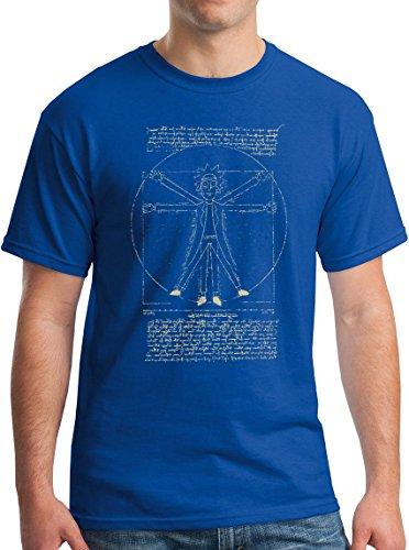 New York Fashion Police Rick Sanchez Shirt Vitruvian Da Vinci Style Graphic Tee Royal (New York Style Graphic Tee)