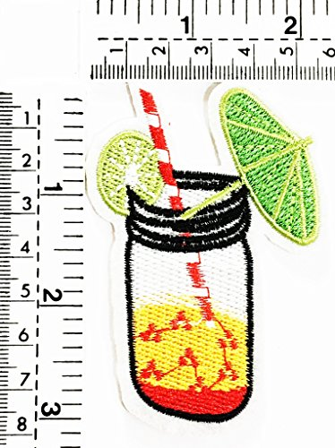 Lemon Italian Soda fruit juice Cocktail Alcoholic Beverage Soft Drink Party kids cartoon patch Applique for Clothes Great as happy birthday gift ()