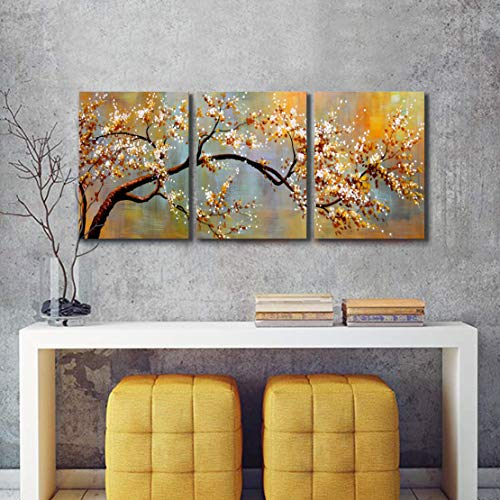 Canvas Wall Art Pictures Decor Ready to Hang Floral Artwork for Walls Home Decorations for Living Room 'Exquisite Yellow Plum' 3 Piece Wall Artwork - Plum Yellow