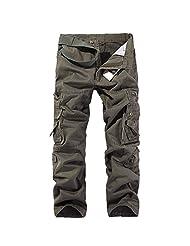 Shefetch Women's ZipUpwithButtonClosure Straight Solid Pants Gray 43